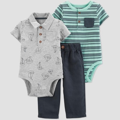 Baby Boys' Boat and Striped Bodysuits and Pants Set - Just One You® made by carter's Gray/Blue/Green 3M