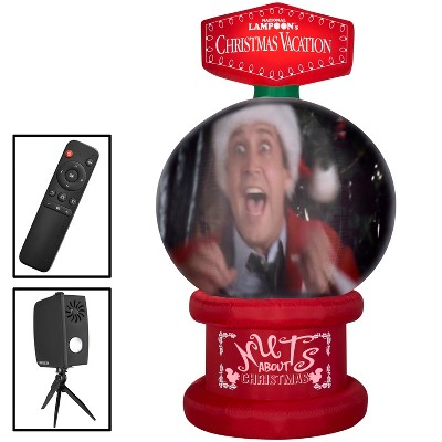 Gemmy Living Projection Christmas Airblown Inflatable NLCV Snow Globe Scene WB , 8 ft Tall, red
