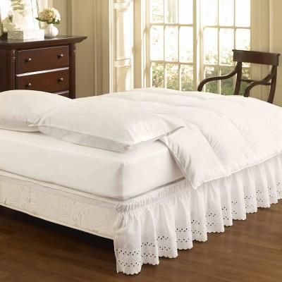 "White Wrap Around Eyelet Ruffled Bed Skirt (Queen/King)(80"" X 60"")- EasyFit"