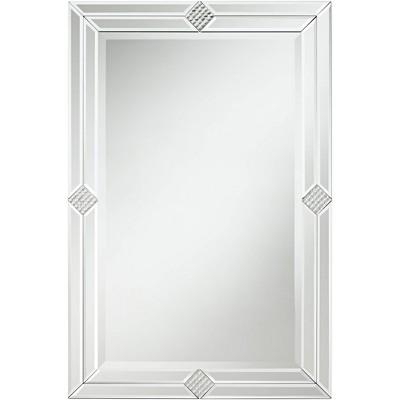 """Possini Euro Design Cecilia 23 3/4"""" x 35 1/2"""" Rectangular Diamond Mirror"""