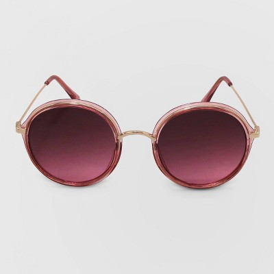 Women's Round Metal Plastic Combo Silhouette Sunglasses - Wild Fable™ Pink