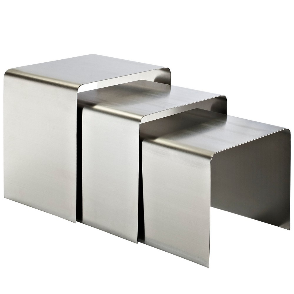 Rush Nesting Table Silver - Modway