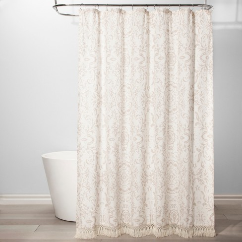 Exploded Floral Shower Curtain White
