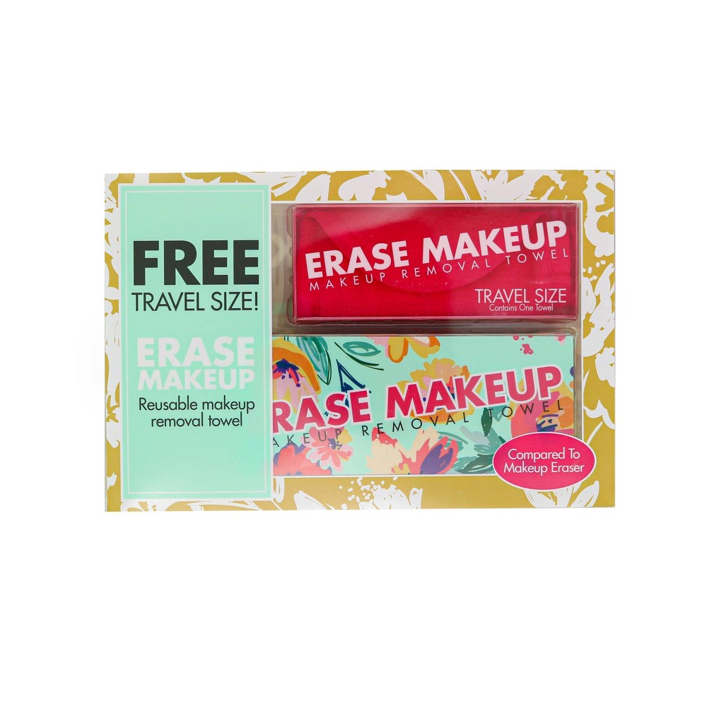 Image of Erase Makeup Floral Reusable Makeup Removal Towel plus Free Travel Size Towel