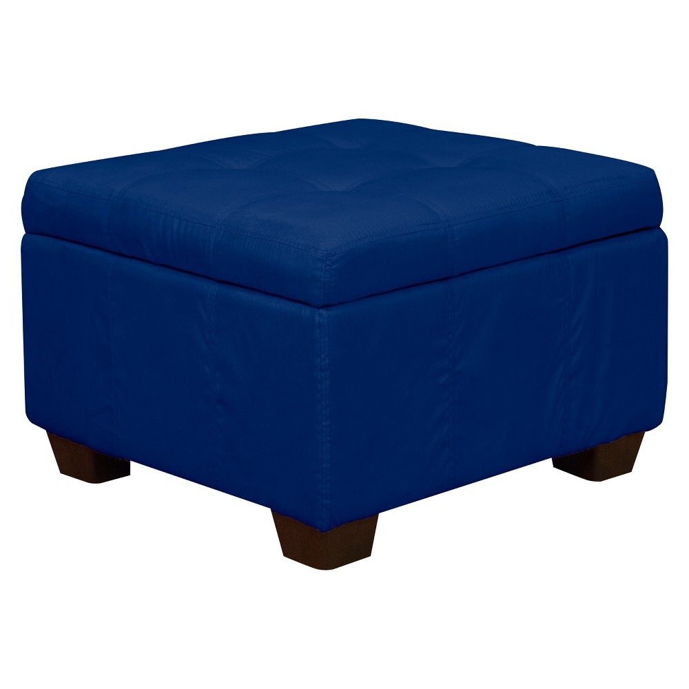 Heirloom Tufted Padded Hinged Ottoman - Suede - Epic Furnishings, Blue
