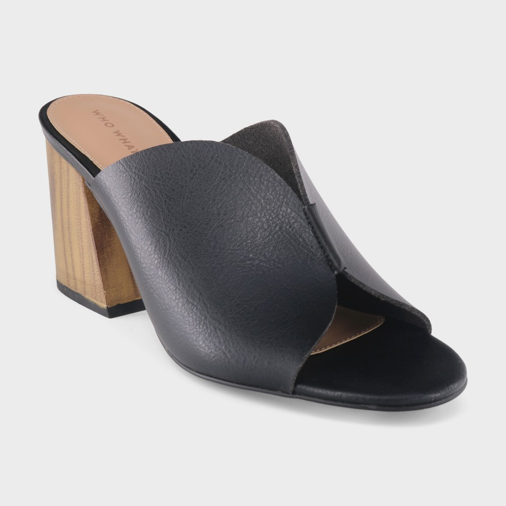 Women's Allegra Smooth Faux Leather Heeled Mules - Who What Wear Black 6