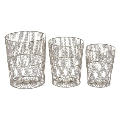 """Olivia & May 13""""x15""""x17"""" Set of 3 Round Metal Woven Patterned Storage Baskets with Cut Out Handles Silver"""