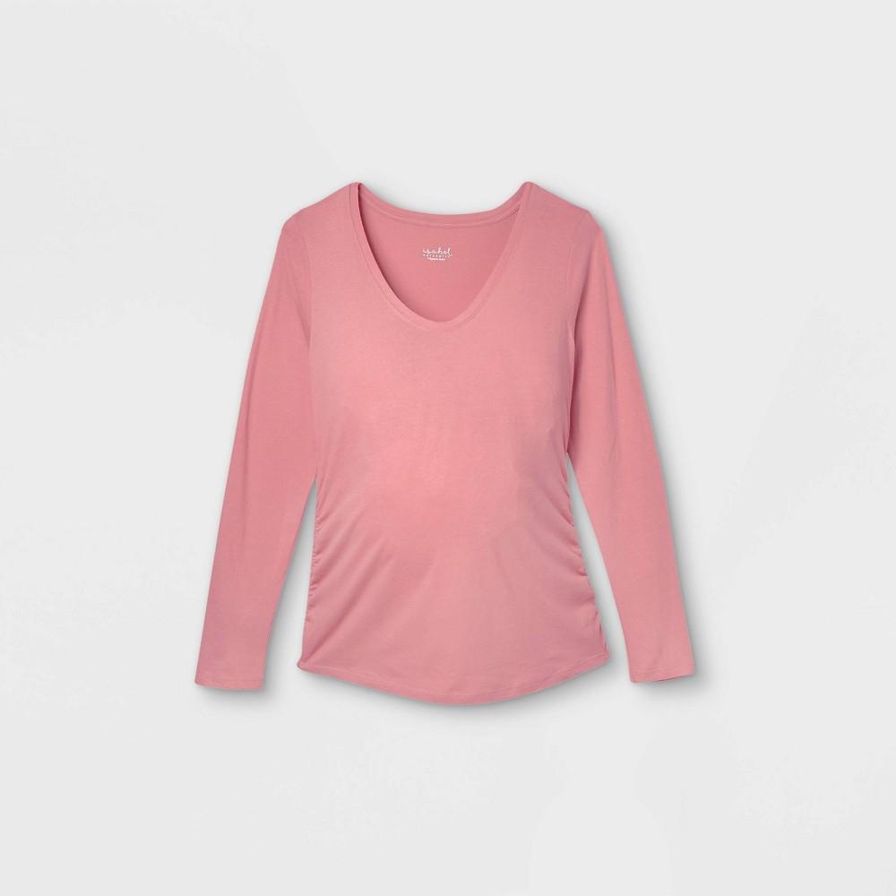 Maternity Long Sleeve Scoop Neck Side Shirred T Shirt Isabel Maternity By Ingrid 38 Isabel 8482 Rose M