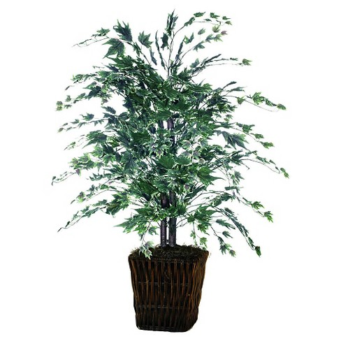 "Maple Bush with a Dark Brown Rattan Container - Silver (48"") - image 1 of 1"