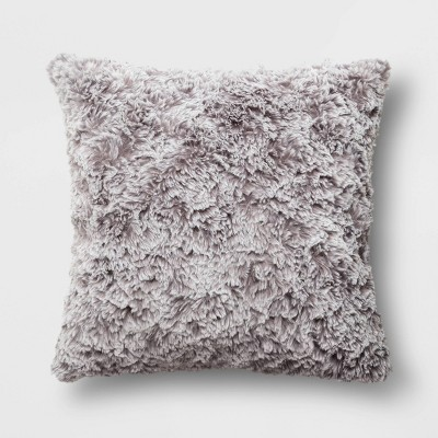 """18""""x18"""" Tipped Faux Rabbit Fur Square Throw Pillow Gray"""