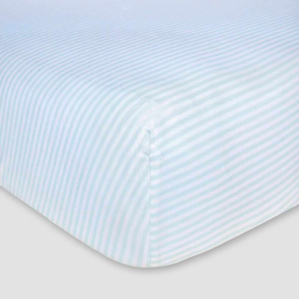Image of Burt's Bees Baby Organic Fitted Crib Sheet - Bee Essentials - Sky Blue