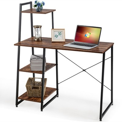 Costway Computer Desk with Shelves Study Writing Desk Workstation with Bookshelf Natural\Brown
