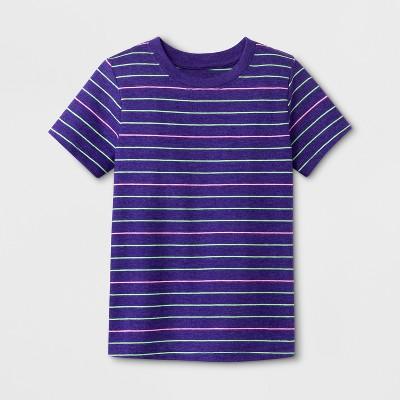 Toddler Boys' Short Sleeve T-Shirt - Cat & Jack™ Grape Stripe 12M