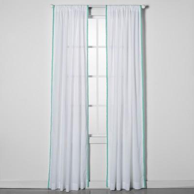 42 x63  Sheer Pom Pom Window Panel Green - Pillowfort™