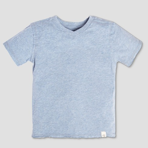 Burt's Bees Baby Toddler Boys' Organic Cotton Solid High V Short Sleeve T-Shirt - Heather Gray - image 1 of 2