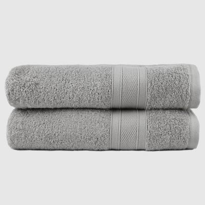 2pc Feather Touch Cotton Bath Towel Set Silver - Trident Group