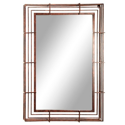 """32"""" x 47"""" Large Rectangular Industrial Wrought Iron Wall Mirror Bronze - Olivia & May"""