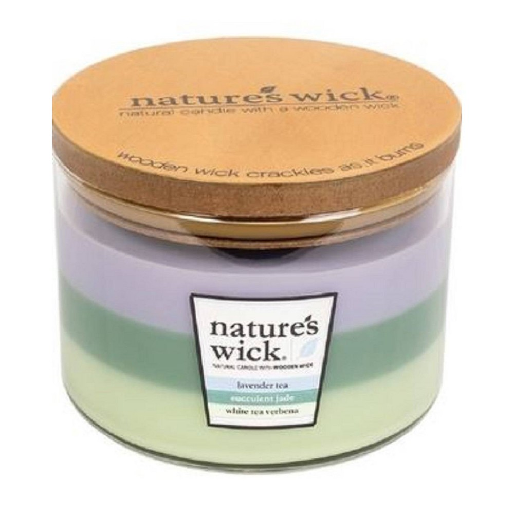 Image of 18oz Glass Jar 3-Wick Candle Lavender Tea/Succulent Jade/White Tea Verbena - Nature's Wick, Multi-Colored