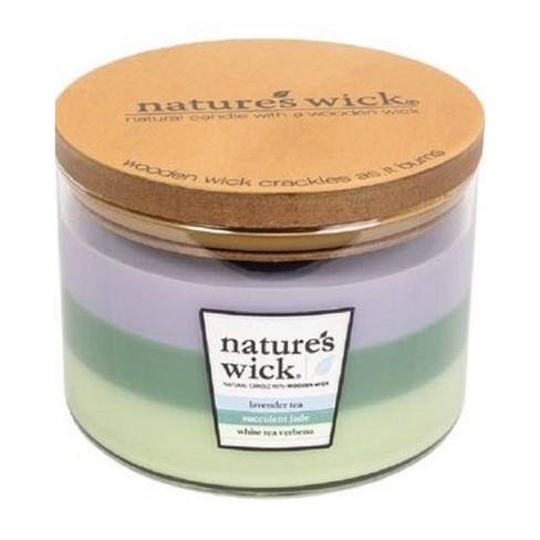 18oz Glass Jar 3-Wick Candle Lavender Tea/Succulent Jade/White Tea Verbena - Nature's Wick - image 1 of 1
