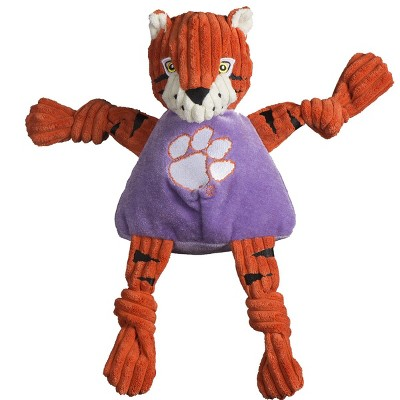 HuggleHounds Knotties Durable Plush Toy for Dogs with Multiple Squeakers, Clemson The Tiger Knottie