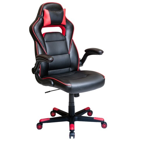 Height Adjustable Office Chair with Detachable Headrest Pillow and Flip Up Arms Red - Techni Mobili - image 1 of 9