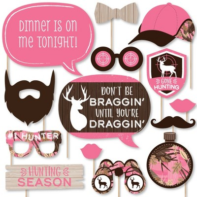 Big Dot of Happiness Pink Gone Hunting - Deer Hunting Girl Camo Baby Shower or Birthday Party Photo Booth Props Kit - 20 Count