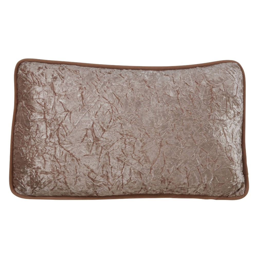 """Image of """"12""""""""x20"""""""" Crushed Velvet Pillow Poly Filled Champagne - SARO Lifestyle, Beige"""""""