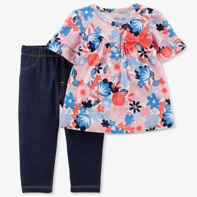 Baby Girls' Floral 2pc Jeggings Set - Just One You® made by carter's Pink 6M