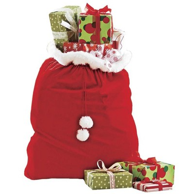 HearthSong - Oversized Christmas Velvet Toy and Gift Sack with Drawstring Cord