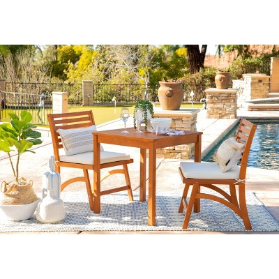 Tanner 3pc Outdoor Wood Cushioned Bistro Set - Natural Brown - Coaster