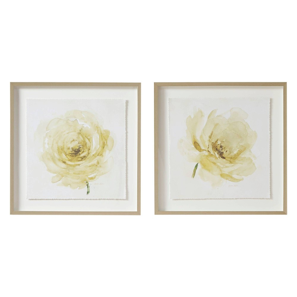 Image of 2pc Set Ladies Rose Glass Framed Graphic Rose Single Floating Mat Ivory, White