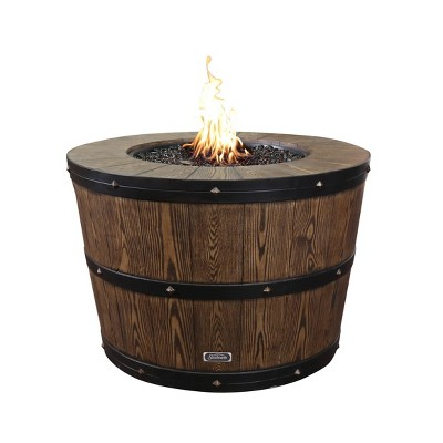 Propane/Natural Gas Wine Barrel Fire Pit Brown - Sunbeam