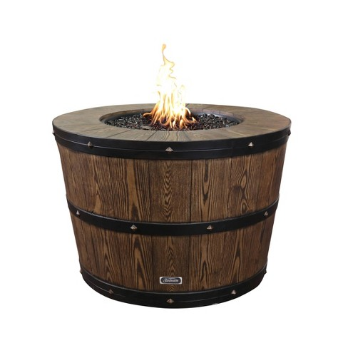 Propane/Natural Gas Wine Barrel Fire Pit Brown - Sunbeam - image 1 of 4