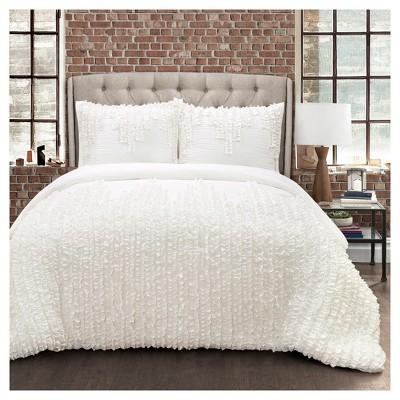White Ruffle Stripe Comforter Set (King)3pc - Lush Decor ®