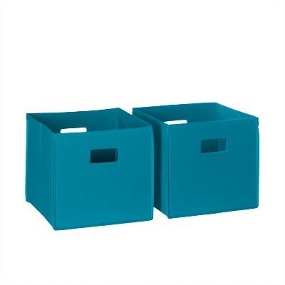 2pc Folding Toy Storage Bin Set Turquoise - RiverRidge