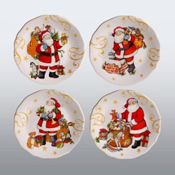 "9"" 4pk Earthenware Vintage Santa Dessert Plates Red - Certified International"