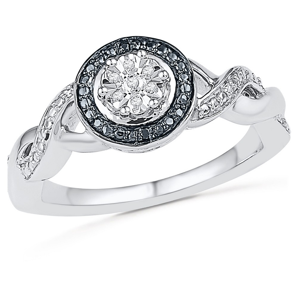 Image of 0.925 CT. T.W. Silver and 0.030 CT. T.W. White & Black Diamond Fashion Ring (4.5), Women's