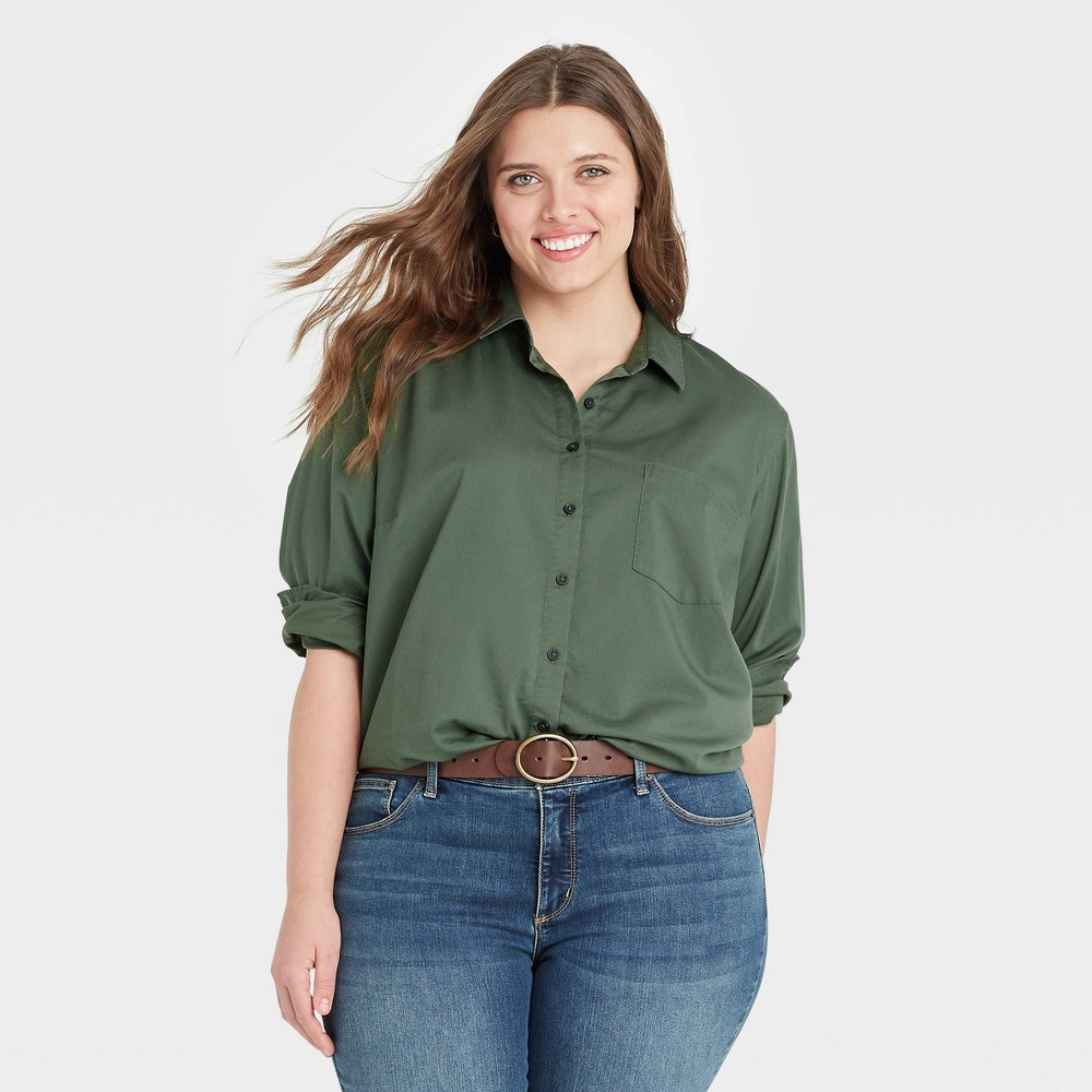 Women 39 S Plus Size Long Sleeve Button Down Shirt Universal Thread 8482 Olive Green 4x