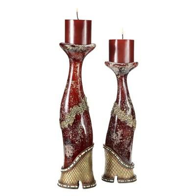 Ok Lighting Crystal Stone Candleholder Set