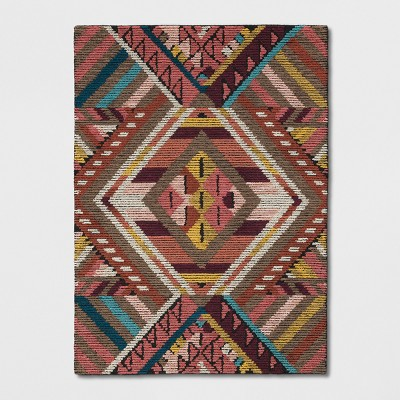 Geometric Wool Tufted Area Rug Pink Red Yellow Opalhouse Target