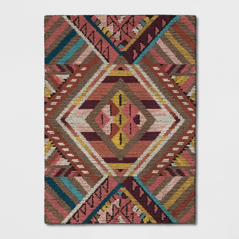 Pink Red Yellow Geometric Wool Tufted Area Rug Opalhouse Target