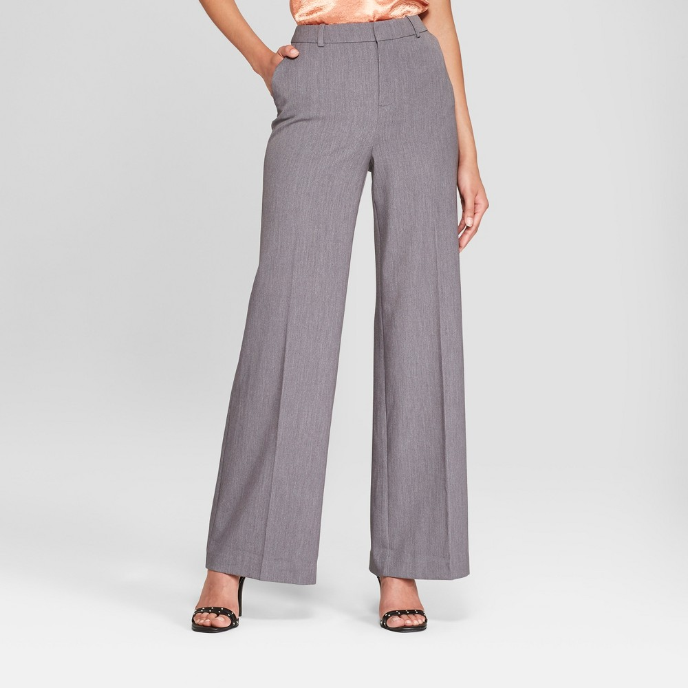 Women's Wide Leg Bi-Stretch Twill Pants - A New Day Heather Gray 10S, Size: 10 Short