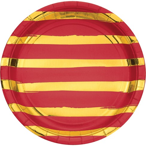 "Classic Red and Gold Foil Striped 9"" Paper Plates - 8ct - image 1 of 1"