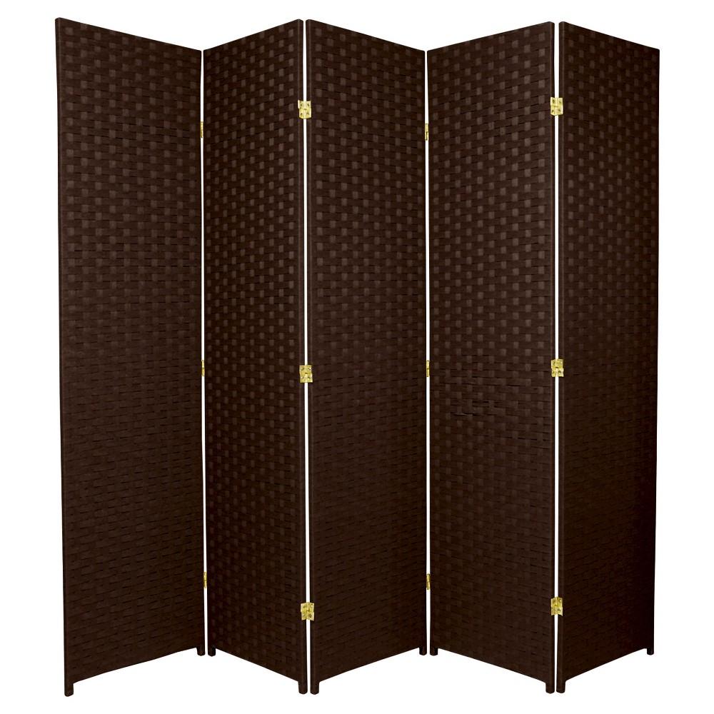 6 ft. Tall Woven Fiber Room Divider - Dark Mocha (5 Panels), Brown