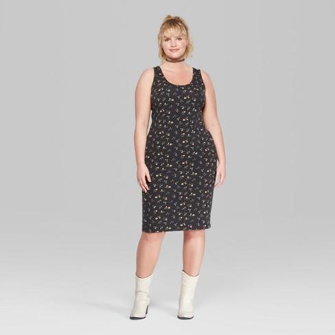 053ad225165 Women s Floral Print Plus Size Strappy Scoop Neck Knit Midi Dress - Wild  Fable™ Black
