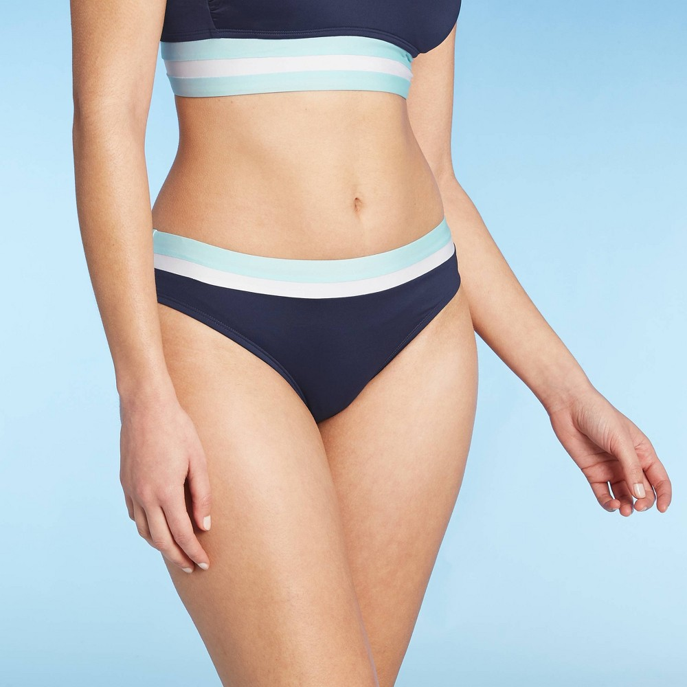 Women 39 S Colorblock Banded Medium Coverage Hipster Bikini Bottom Kona Sol 8482 Navy Xs
