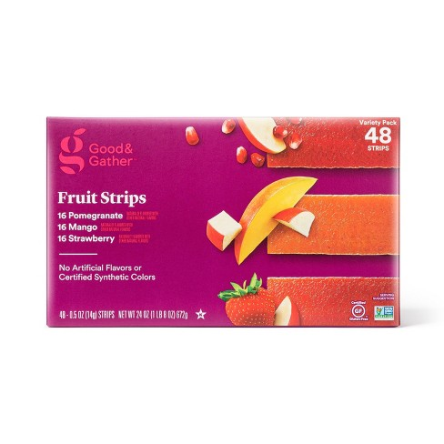 Pomegranate, Mango and Strawberry Fruit Strips Variety Pack - 24oz/48ct - Good & Gather™ - image 1 of 3