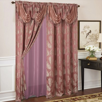 Ramallah Trading Palm Floral Textured Jacquard 54 x 84 in Single Rod Pocket Curtain Panel w/ Attached 18 in Valance