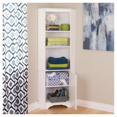 Elite Tall 1   Door Corner Storage Cabinet   White   Prepac : Target