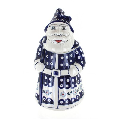 Blue Rose Polish Pottery Blue Violet Santa Cookie Jar
